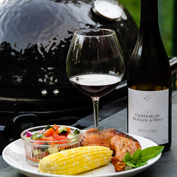 Grilled dinner with wine